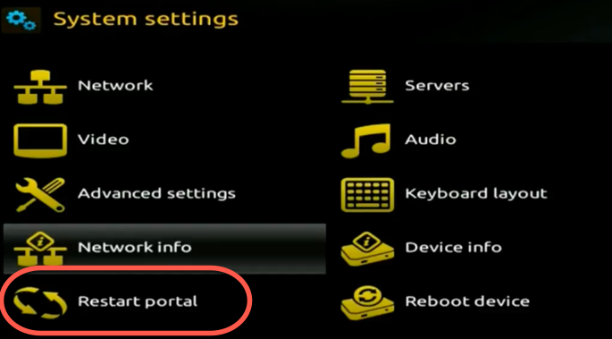 How to add an IPTV portal on MAG 250 254 256 Restart_portal